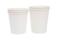White  cardboard cups for hot drinks Stock Photo