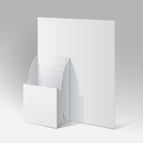 White Cardboard holder for brochures and flyers. Stock Photos