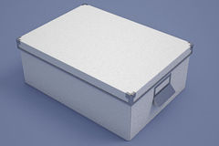 White Cardboard Storage Box Stock Photo
