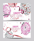 White cards with abstract colorful air balloons with stars, ticker tapes and Happy Birthday wishes Royalty Free Stock Photography