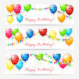 White cards with birthday balloons and confetti. Happy Birthday cards, Birthday cards with colorful balloons, multicolored confetti, holiday pennants and the Stock Photography
