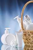 White Care Items On Blue Background Royalty Free Stock Images