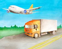 A orange truck with a grey body carries cargo on an asphalt road past the meadow and woods on the horizon in summer and a clear stock illustration