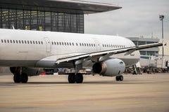 White cargo plane at airport Stock Photo
