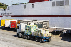 White cargo ship and containers, Barcelona Royalty Free Stock Photo