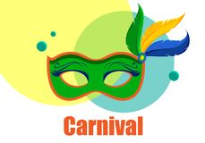 White carnival background with colour mask. White festive carnival background with bright colour mask. Vector illustration Royalty Free Stock Photography