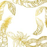 White carnival background with gold mask and feathers. Vector paper illustration Royalty Free Stock Photos