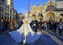 White carnival costume person,Venice Royalty Free Stock Photo