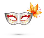 White carnival mask with red, gold glitter. White vector carnival mask with red and gold glitter decoration and orange flower Royalty Free Stock Photo