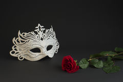 White carnival mask and a rose on a gray background Stock Image