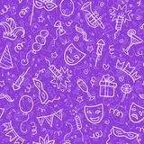 White carnival symbols in doodle style on violet Stock Photos