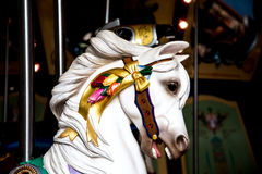 White Carousel Horse Head In Shadows Stock Image