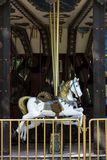White carousel horse outdoor royalty free stock photo