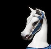 White Carousel Horses Head On Black Background Royalty Free Stock Photo