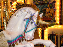 White Carousel Unicorn Stock Images