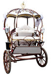 White carriage. White retro carriage decorated isolated over white background Stock Photo