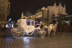 White carriage in the city Royalty Free Stock Images