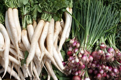 White Carrots & Spinach Stock Image