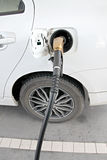 White cars are fuel filler. Stock Photo