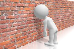 Free White Cartoon Character Banging Head Against The Wall - 3D Illustration Stock Image - 186161851