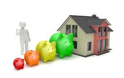 Manikin Piggy Bank Chart House. White cartoon character with piggy banks and house building on the white Royalty Free Stock Photos