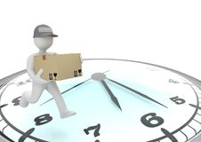 Manikin Express Shipment Clock. White cartoon characters runs with big parce on the big clock Royalty Free Stock Photography