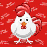 White cartoon Rooster, Symbol Happy New Year Stock Photography