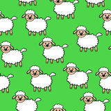 White cartoon sheep pattern seamless on green background Stock Images
