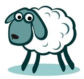 White cartoon sheep Royalty Free Stock Image