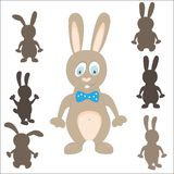 Rabbit silhouette. easter game. find the correct shadow. On white. cartoon vector. editable layers Stock Photo
