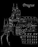 White cartoon vector illustration of downtown Prague in chalk on black with text. Lettering stock illustration