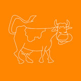 White Cartoon Vector Illustration of Funny Cow Farm Animal for Coloring Book Royalty Free Stock Images