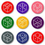 White casino dice on a colorful background Royalty Free Stock Images