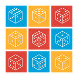 White casino dice on a colorful background. Set of flat modern line icons. Vector illustration. Stock Photos