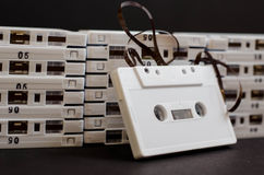 White Cassette Tape with Tape Exposed Stock Photography