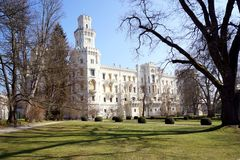 White castle. Beautiful white castle is standing in Hlubok Bohemia region Czech Republic royalty free stock images