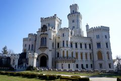 White castle. With garden around is situated in Hlubok, Czech Republic royalty free stock photography