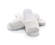 White casual home slippers royalty free stock photo