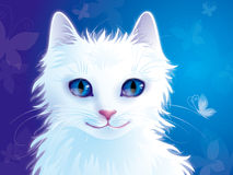 White cat. Pretty white cat with butterflies Stock Photos