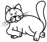 White Cat. Lying vector illustration Royalty Free Stock Images