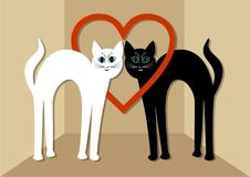 White cat and black tomcat in love, two beautiful cats with red heart. Unusual Valentines day card or wedding announcement in mini Stock Photos