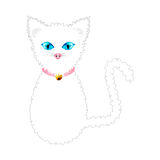White Cat with Blue Eyes and Golden Ball Bell Pink Collar. Vector Illustration Stock Photos
