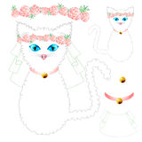 White Cat Bride with Blue Eyes, Crown Pink Rose Flower, Golden Ball Collar. Valentine Day. Vector Illustration. On white Background Royalty Free Illustration