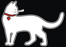 White cat with collar, black and white contour Royalty Free Stock Images