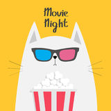 White cat eating popcorn. Cinema theater. Cute cartoon funny character. Kitten watching film show in 3D glasses. Movie Royalty Free Stock Photo