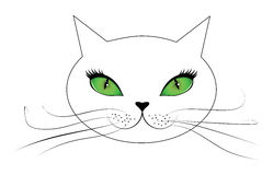 White cat face with green eyes Royalty Free Stock Photos