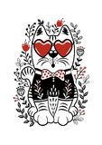 Folk set vector illustration with white cat, heart glasses and f. White cat with heart glasses and flower vector design.Template for design notebook, cards, T Stock Images