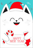 White Cat holding Happy New Year text, Candy cane, sock. Cute funny cartoon character.Confetti, red Santa hat. Flat design Blue ba Stock Photo