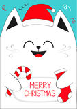 White Cat holding Merry Christmas text, Candy cane, sock. Cute funny cartoon character. Stock Images