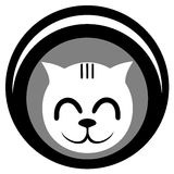 White cat icon Stock Image